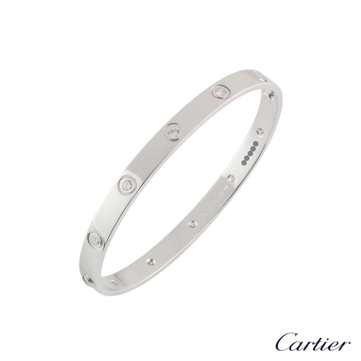 Cartier White Gold Full Diamond Love Bracelet Size 18B6040718